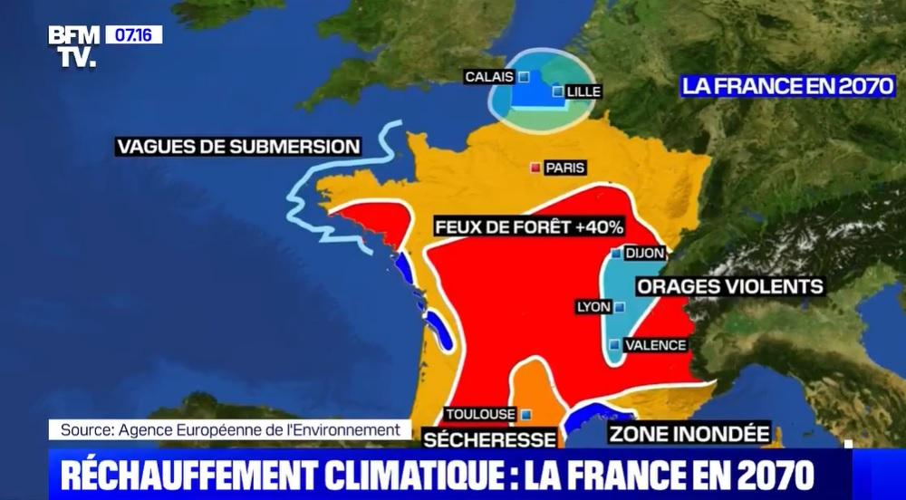 La carte de la France en 2070 si rien n'est fait contre le ...